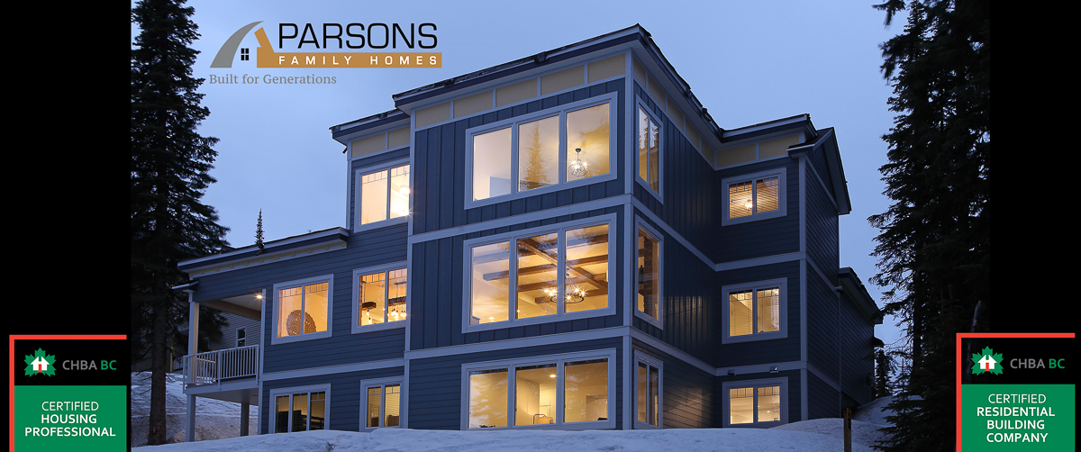 outside of a large family home chalet at Silver Star Mountain in BC built by vernon builder Parsons Family Homes
