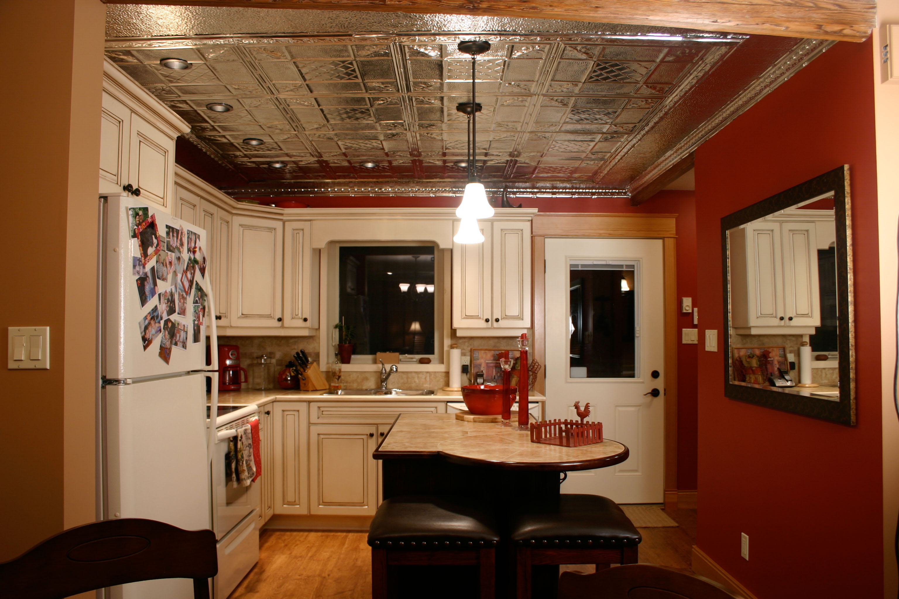 tin ceiling in a kitchen built by Parsons Family Homes