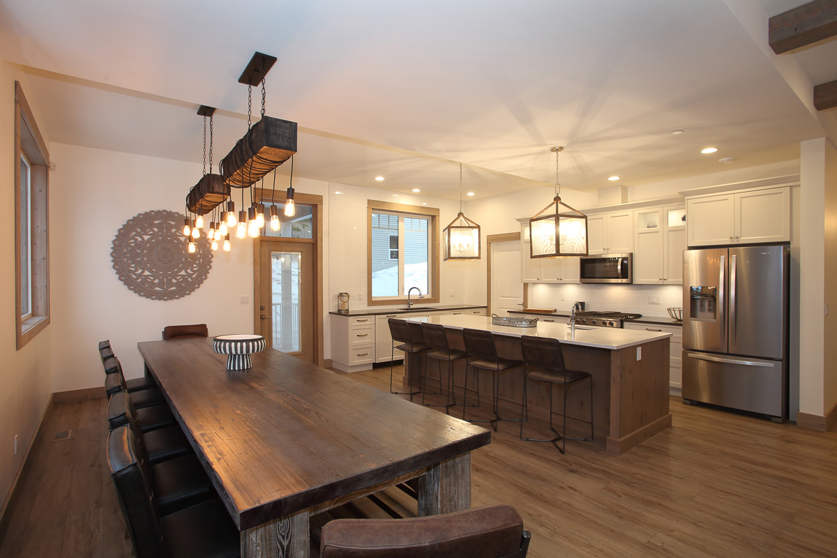 lower level kitchen of a three level silver star mountain custom home build by parsons family homes